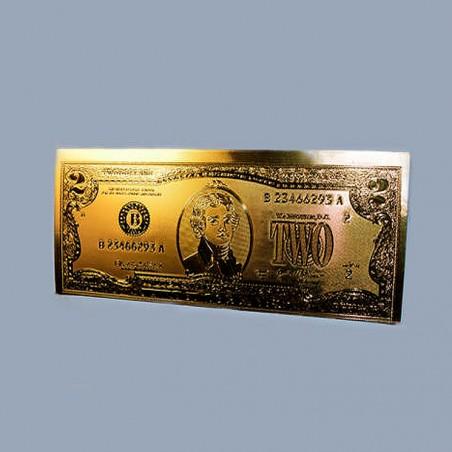 Золотая купюра заряженная 2 дол