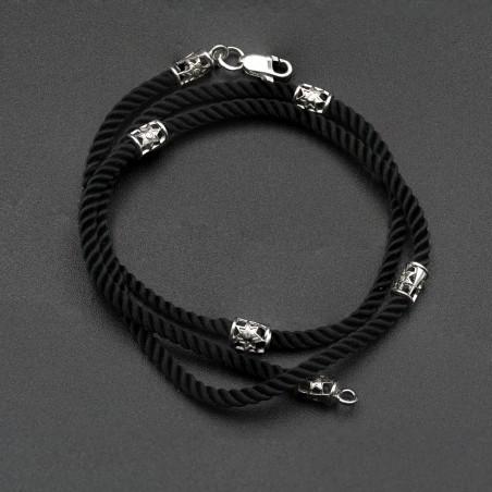 Шнурок шелк с серебряными вставками