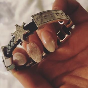 Браслет DUIKO серебро (полный комплект-все символы) натуральная кожа