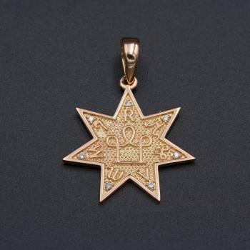 Золотая звезда 7-ми конечная с бриллиантами № 9