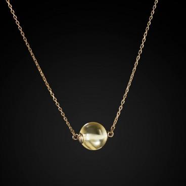 Колье серебряное в позолоте «Янтарный шар»